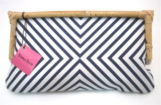 Donna Dixon Canvas Jill Clutch Handbag Navy Stripe Bamboo Handle New