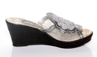 New Womens Dezario Blossom Crystalized Silver Wedges Shoes 6