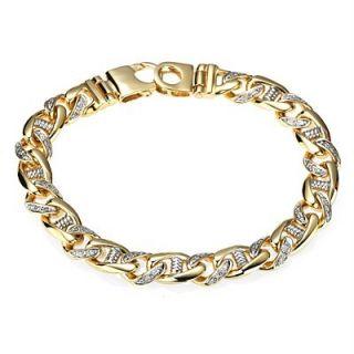 10ct SI G Mens Diamond Handmade Link Bracelet 14k Yellow Gold 53 6g