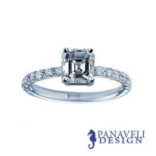 00 ct Asscher Cut Diamond Engagement Ring 18k White Gold G H/VS2