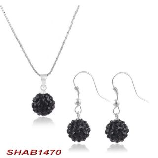 Disco Crystal Ball Bead Charms Necklace Earrings Fashion Ladies