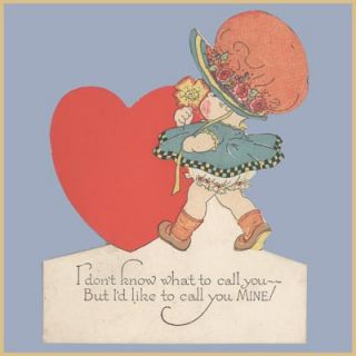 Vtg Valentine Card Rust Craft 1920s 30s Deco Call You
