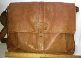New Mens Fossil Brown Leather Messenger Bag Laptop Case Tablet