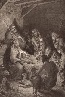 Gustave Dore The Nativity Baby Jesus Christ 13x19 Print Reproduction