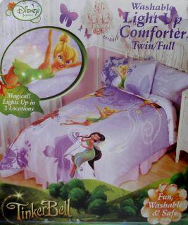 Disney Fairies Twirly Light Up Twin Comforter Sheets 4pc Bedding Set