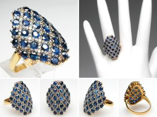 Estate Fine Jewelry Natural Blue Sapphire Diamond Cocktail Ring Solid