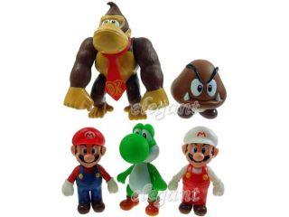 Nintendo Super Mario Brothers Luigi Yoshi Donkey 5 Figures Set