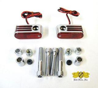 Doss Custom Chrome Rear Red Marker Passing Lights Set for Harley Dual