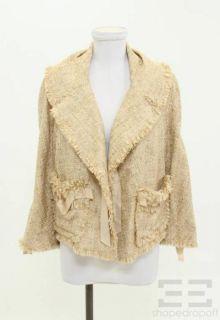 Donna Karan Collection Tan Fringed Trim Jacket Size 12