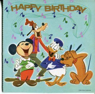 1964 Happy Birthday Record Card Mickey Mouse Donald Duck Goofy Disney