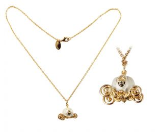 New Disney Couture Jewelry Cinderella Carriage Necklace w Pouch