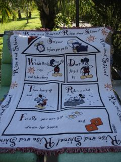 Disney World Mickey Mouse Tapestry Woven Rise and Shine Throw Cozy WOW