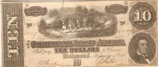 Civil War Confederate Note 1864 10 Dollar Bill Paper Money Currency