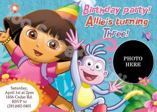 Dora The Explorer Custom Photo Birthday Invitations Boots Backpack