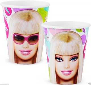Barbie 9oz Hot Cold Paper Cups Party Supplies 8ct