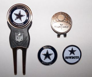 NFL Dallas Cowboys Hat Clip Golf Divot Tool and 3 Ball Markers