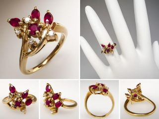 Natural Ruby & Genuine Diamond Ladies Ring Solid 14K Gold Fine Estate