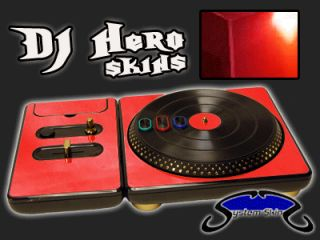 RED CHROME DJ Hero turntable Skin for 360, PS3 Console System Decal