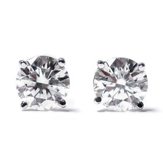 Ct Round Cut 14k White Gold Diamond Stud Earrings