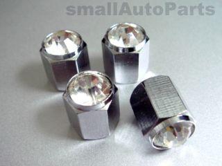 Bling Crystal Clear Chrome Diamond Tire Wheel air stem valve CAPS