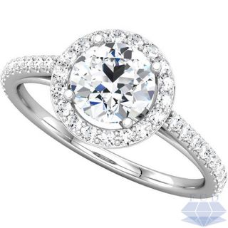 28CT TW ROUND BRILLIANT Diamond Engagement Ring   14K White Gold
