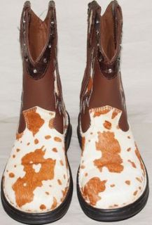 Double H Womens Sz 8 Roper Cowboy Boots Hair on Brown White Sonora