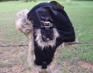 New Wool Trooper Bomber Black Faux Fur Winter Lined Hat