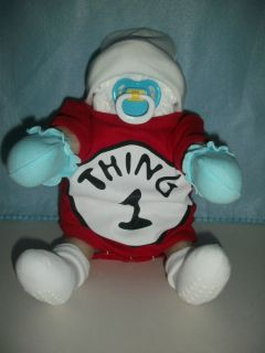 DR SEUSS THING 1 SITTING DIAPER BABY SHOWER GIFT NEW HAT MITTENS