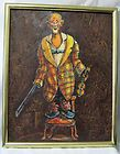 Dianne Dengel Original Young Clown Painting Framed Highly Collectible