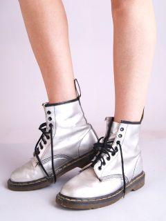 Vtg Silver Metallic Doc Martens Dr Martins Patent Leather Combat