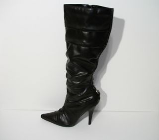 diba Black Leather Knee High Boots Stiletto Heels Zippered Womens Size