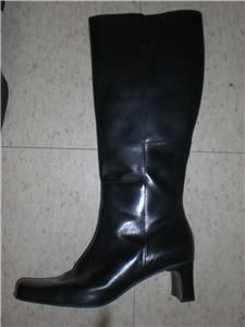diba usa BLACK LEATHER KNEE ZIP UP BOOTS W/ 2 HEEL WOMENS SIZE 7