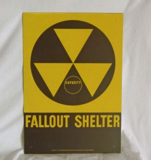 DOD 1960s Fallout Shelter Sign Authentic EC 14 x 20