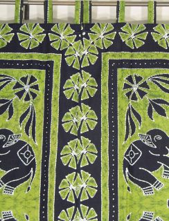 Lovely Pair of Hand Block Printed Cotton Curtains / Drapes / Panels