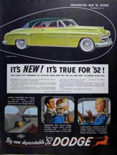 1952 Green Dodge Coronet Diplomat Automobile Color Ad