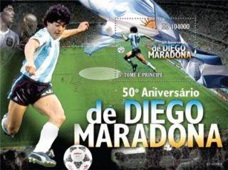 Diego MARADONA Soccer s Sheet Stamp St Thomas ST10208B