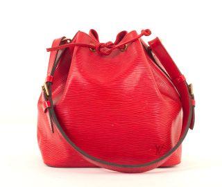 Louis Vuitton Red Epi Textured Leather Petit Noe Drawstring Bag