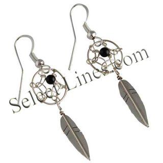 Sterling Silver Black Onyx Dreamcatcher Dangle Earrings Navajo