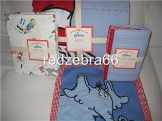 Dr Seuss Cat in The Hat Twin Quilt Horton Sham Sheet Set 6 PC