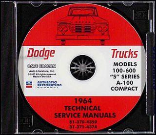 1964 Dodge Truck Shop Manual CD Pickup Power Wagon D100 D200 D600 W100