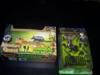 Lot of 2 Adventure Quest Items Animal Rescue and Action Figure Playset