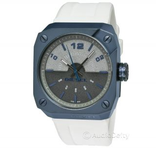 Diesel Mens Slate Blue Watch With White Silicone Rubber Strap