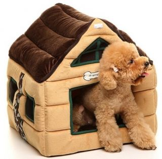 Pet Dog Cat Chocolate House Bed Kennel 48x45x50cm M