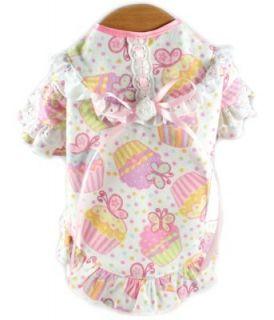 Designer Pet Dog Pajamas Nightgown Nightie Pink Cupcake Butterfly New