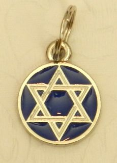 DOG JEWELRY White & Blue STAR OF DAVID Hebrew Hanukkah Jewish Enamel