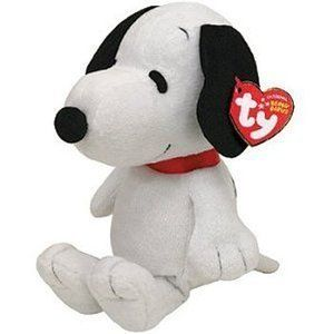 Ty Peanuts White Snoopy Puppy Dog Beanie Babies Stuffed Plush Toy with