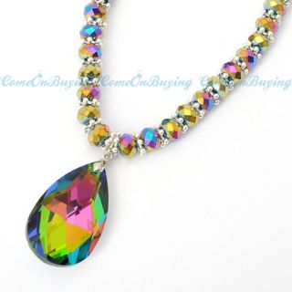 Handmade Colorful Crystal Big Beads Chain Water Drop Pendant Necklace