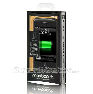 Luxmo iPhone 4S 4 Platinum Collection Maxboost Series Power Case BK WT