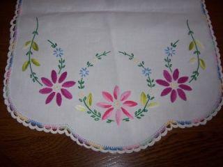 Flower Embroidery Dresser Scarf Doily Crochet Edge Runner 41