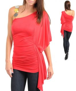 One Shoulder Party Casual Dressy Top Blouse Shirt Tunic s M L